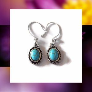 Turquoise & Sterling Silver 925 Drop Earrings NEW